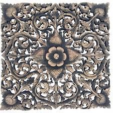asian lotus fl carved wood wall art