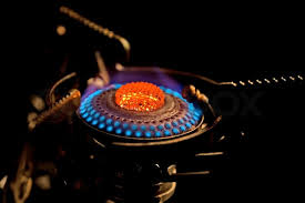 gas stove flame. Flame In Gas Stove On Dark Background, Stock Photo