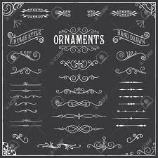 Chalkboard Ornaments - Collection of hand drawn, chalk vintage ornaments  Stock Vector - 39086940