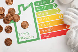 Coins And Light Bulbs On Energy Efficiency Rating Chart Top