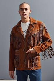 brown jackets leather faux fur jackets rockmount mens fringe sun jacket light brown