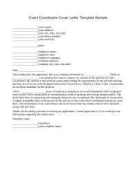 Magnificent Cover Letter Examples For Event Coordinator Positions