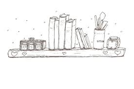 drawing of recipe books on a shelf from page 11 of the lunch book