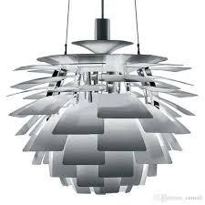 60cm ceiling pendant lamp poul henningsen ph artichoke hanging pendant lighting aluminum white wine red gold silver black for choose glass light pendants