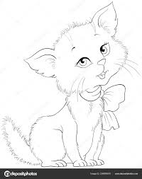 Schattige Cartoon Vrolijke Kitten Kleurplaten Pagina Schattige