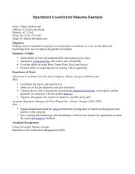 example resume for program coordinator lovesupply cf - Operations  Coordinator Resume