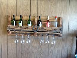 wall mounted diy pallet wine rack with wine glass holder creative pallet wine rack