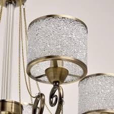 chandelier in antique brass with crystal drops save