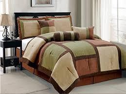sage green brown beige bed