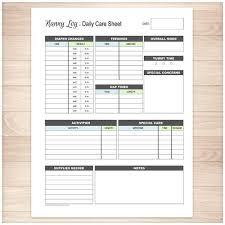 Nanny Log Daily Infant Care Sheet Blue Green Printable At