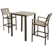 3 piece patio bar set. Exellent Set Trex Outdoor Furniture Surf City Textured Bronze 3Piece Patio Bar Set With  Sand Castle With 3 Piece L