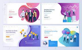 Page Design Templates Set Of Web Page Design Templates For Business Finance And Marketing
