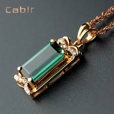get ations kabir brazil natural green tourmaline pendant 4 05 karat k gold inlaid diamonds colored gemstones