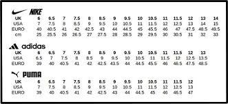 Puma Shoe Size Chart Football Boots Size Guide Footballboots Co Uk Shoe Size