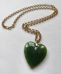 just found this heart shaped jade pendant with solid gold chain and bail for 11