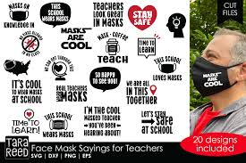 These free svg cutting files are compatible with cricut, cameo silhouette and other major cut machines. Face Mask Sayings For Teachers Svg And Cut Files 793094 Cut Files Design Bundles