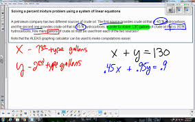 solving a percent mixture problem using a system of linear equations you