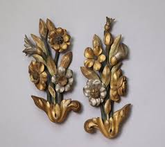 antique french carved wood wall plaques
