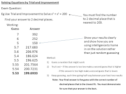 solving equations by trial and improvement