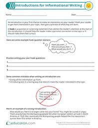 Writing Introductions Introductions For Informational Writing Worksheet