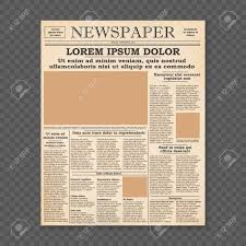 Newspaper Front Template Realistic Old Newspaper Front Page Template Vector Illustration