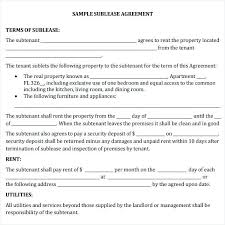 Sample Sublease Agreement Sublet Agreements Office Sublease Agreement Template Sublet