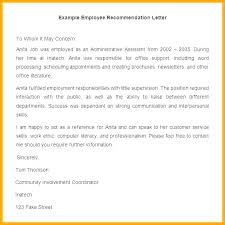 Employee Reference Letter Example Sample Certificate Of