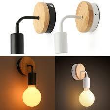 Modern White Black E27 Wall Lamp Fixture Sconce Holder Wood Base Cafe Home Decor