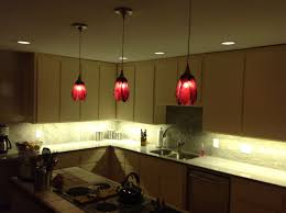 red pendant lighting. Kitchen : Chic Red Flower Pendant Lighting Design Inspiration With L Shape Simple Cabinet And White Backsplash Added Island All You R