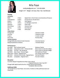 Dance Resume For College Dance Resume Template For College Resume For Study Audition Resume 4