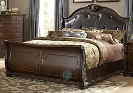 Hillcrest Manor Cal. King Genuine Leather Sleigh Bed