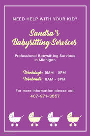 Professional Babysitting Services Purple Babysitter Poster Template Babysitting Flyers