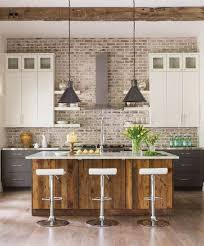 stunning kitchen design with brick effect wall tiles and black