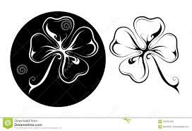 Tatuaggio Fortunato Del Quadrifoglio In Due Variazioni Illustrazione