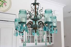 aqua candelier from mason jars