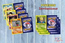 Birthday Pokemon Birthday Invitation Card Template Invitations