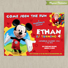 mickey mouse party invitation disney mickey mouse clubhouse customizable printable party invitation with or without photo