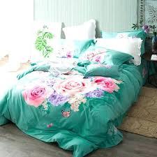 green duvet cover queen green bed set pink rose print turquoise green bedding set queen king