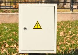 fuse box black yellow sign warning for risk of electrocution fuse box black yellow sign warning for risk of electrocution stock photo 10932769