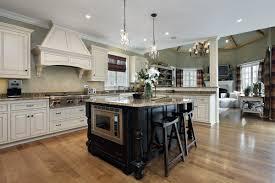 elegant design kitchen remodel ideas comes with rectangle shape black wooden kitchen island and cream color granite countertop