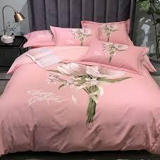 details about brushed cotton bedding set 4pcs flower pure cotton duvet cover velvet bed sheet