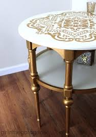 DIY End Tables with Step by Step Tutorials - Gold And White Stenciled End  Table -