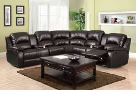 furniture of america cm6557bp aberdeen transitional black bonded leather 2 recliners sectional sofa couch