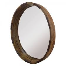 m0111 round wooden mirror with metal accents 1