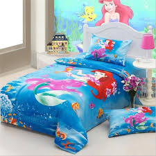 Pink Princess The Little Mermaid Bedding Sets Twin Size Cotton Bed Sheets  Pillowcase Duvet Cover Children