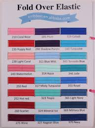 Color Chart Of 5 8 Solid Fold Over Elastic 91 Colors Shiny