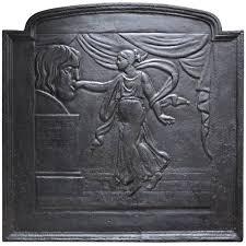 cast iron fireback. Cast Iron Fireback Presenting The Mouth Of Truth, 19th Century E