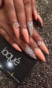 Pointy Nails Designs With Diamonds Coral Stilettos Nails Bling Nails Luxury Nails Stiletto