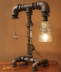 diy how lamp with recycled pipe parts desk lamps