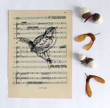 Music Paper Print Wren Print On Vintage Music Paper